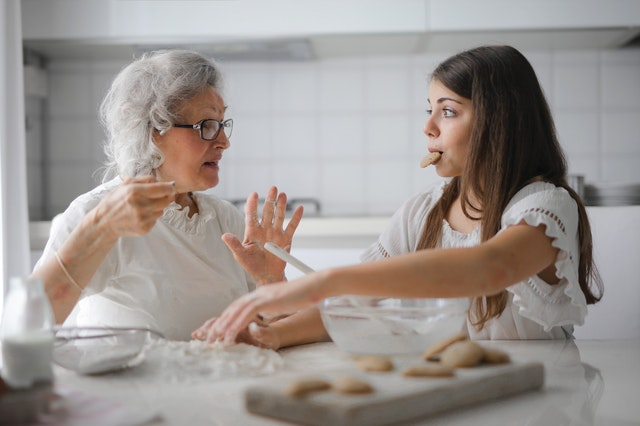 Woman and Grandmother Baking